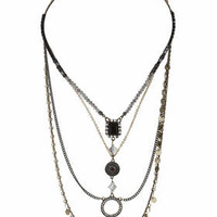 Facet Disc Necklace - Multi