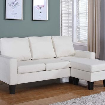 New Century® Light Beige Ivory Linen Adjustable Sectional Sofa