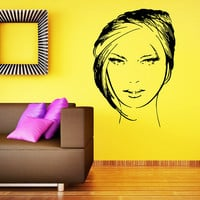 Makeup Wall Decal Vinyl Sticker Decals Home Decor Mural Make Up Girl Eyes Woman Fashion Cosmetic Hairdressing Hair Beauty Salon Decor SV6037