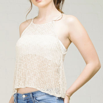 Straight Neck Netted Knit Tank Top