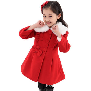 Winter Warm Clothes Girls Faux Fur Coat Children Kids Toddler Children Outerwear Sweet Flower Jacket Warm Girl Floral Clothing = 1932385796