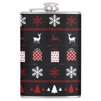 Christmas Sweater Pattern, Red White on Black Hip Flask