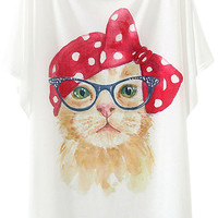White Pop Cat Print Batwing Sleeves Graphic Tee