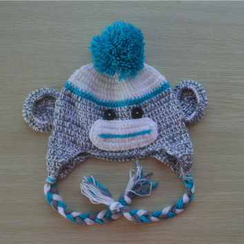 Crochet Blue and Grey Sock Monkey Baby Beanie/ Hat