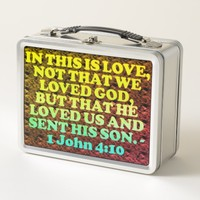 Bible verse from 1 John 4:10. Metal Lunch Box