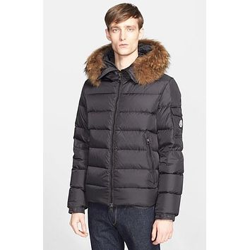 Men's Moncler 'Byron' Down Jacket with Genuine Coyote Fur Trim,
