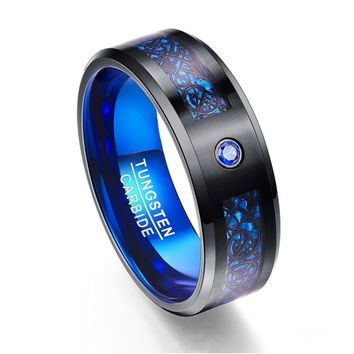 Foreign Trade Carbon Fiber Blue Zircon Men Rings 100% Tungsten