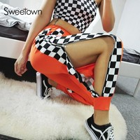 Sweetown Harajuku Checkerboard Side Button Jogger Pants Streetwear Casual HighWaist Trousers Women Autumn Winter 2018 Sweatpants