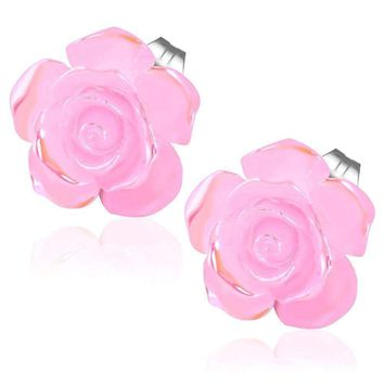 Large Shimmering Blushing Pink Rose Stud Earrings