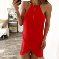 Spaghetti Strap Sleeveless Pure Color Short Dresses