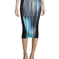 Arianna Striped Pencil Skirt, Size: