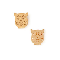 FOREVER 21 Cutout Owl Studs Matte Gold One