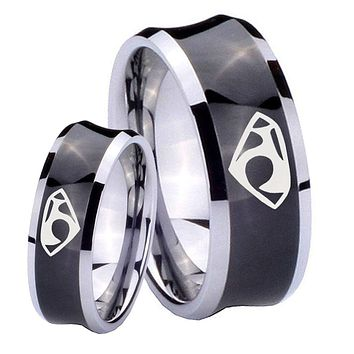 His Her Black Concave House of Van Two Tone Tungsten Wedding Rings Set