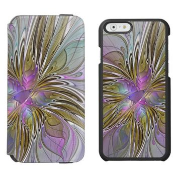 Floral Colorful Abstract Fractal With Pink & Gold iPhone 6/6s Wallet Case