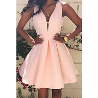 Solid Color V-neck stitching dress