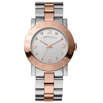 Marc by Marc Jacobs MBM3194 Women's Classic Amy Rose Gold Tone Bezel Silver Glitz Dial Two Tone Stainless Steel Bracelet Watch