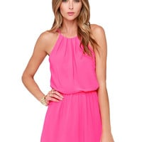 Pink Pleated Halter Neckline Romper with Keyhole Back