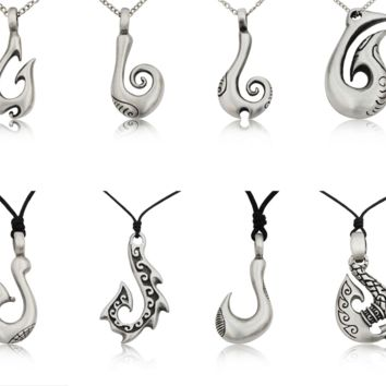 New-Tribal-Maori-Fishing-Hook-Silver-Pewter-Charm-Necklace-Pendant-Jewelry