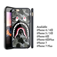 Best Bape Shark Mouth Grey iPhone 6 6s 7 8 X Plus Hard Plastic Case