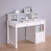 Deluxe Solid Wood Desk with Hutch - White