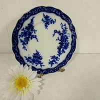 Flow Blue Plate in Touraine Pattern by Stanley Pottery Co England Luncheon Sandwich Dessert Salad 8 inch Plate Fine China Dinnerware Service
