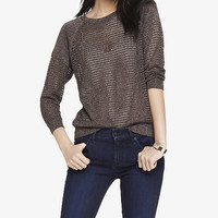 RAGLAN SLEEVE METALLIC OPEN MESH SWEATER from EXPRESS