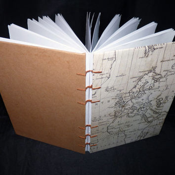 A5 Coptic Stitched Journal / Notebook Vintage Map Design