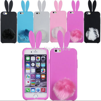 Lovely Bunny Rabbit Soft TPU Skin Ear with Tail Case Cover for iPhone 5 phone cases cover