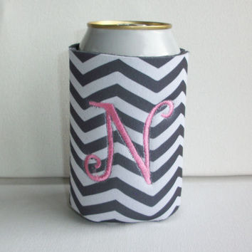 Monogrammed Custom Can gray white chevron Koozie -  Personalized Embroidered Monogram Coozie - gift for her drink holder
