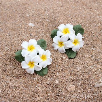 Plumeria Yellow Clip-On Earrings