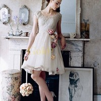 Champagne A-line Short Satin Wedding Dress - US$160.99 - Goldwo.com