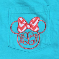 Monogram Disney Inspired Minnie Mouse Comfort Colors Applique Pocket Tee