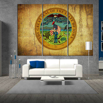 State of Iowa seal flag Canvas Print wall art, extra large wall art, iova seal flag wall art,  iova seal flag canvas large wall art t308