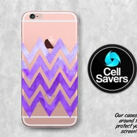 Purple Chevron Clear iPhone 7 Plus iPhone 6s iPhone 6 iPhone 6 Case iPhone 6s Plus iPhone 5c iPhone 5 SE Clear Watercolor Chevron Pattern