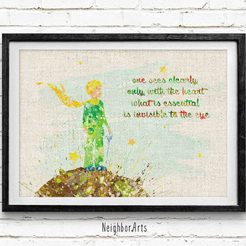 The Little Prince Watercolor Art Poster Print, Baby Nursery Art, Kids Decor, Minimalist Home Decor Not Framed, Buy 2 Get 1 Free