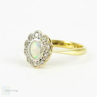 Vintage Opal & Diamond Engagement Ring, Cabochon Cut Opal wtih Scalloped Edge Diamond Halo. Circa 1920s, 18ct, Platinum.