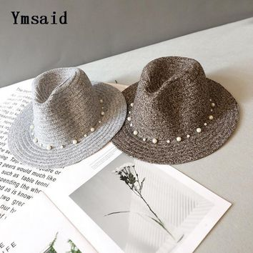 Ymsaid 2017 Fashion Beach Winter Knitted Hat Women Sweet Pearl Rhinestone 3D Flowers  Hollow Caps Jazz Hats Panama Sun Hat