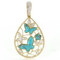 Vintage Butterfly Turquoise Diamond Pendant 14 Karat Yellow Gold Estate Fine Jewelry