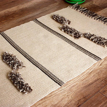 White handwoven wool rug with brown motifs and wool fringes/tassels, bohemian white wool rug, unique handwoven wool rug, high quality rug