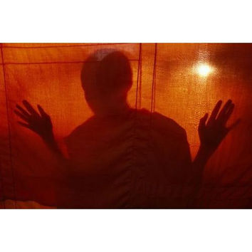 A Buddhist monk is silhouetted behind a hanging curtain.