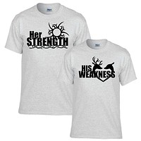 Her Strength His Weakness Couples T-shirt Set