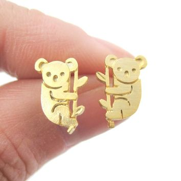 Adorable Koala Bear Silhouette Shaped Stud Earrings in Gold | Animal Jewelry