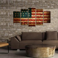 American Flag Cracked Look Canvas