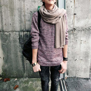 Solid Color Simple Style Men Fashion Scarf