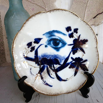 Antique Cobalt Flow Blue Anatomical Eye Plate Altered vintage Dish Victorian