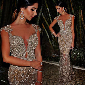 Don's Bridal Sexy Cap Sleeve Long Champagne Prom Dresses Mermaid Silver Beaded Sequins Appliques 2016 Evening Party Gown