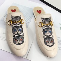 GUCCI New fashion cat print flip flop slippers shoes