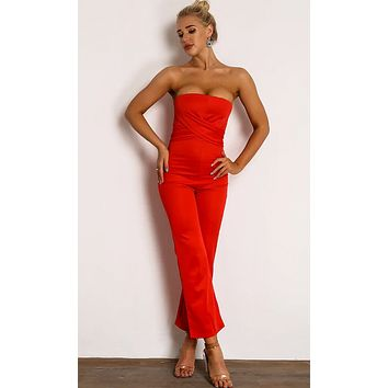 I'll Be True Red Strapless Cross Wrap Loose Wide Leg Jumpsuit