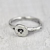 heart print stacking ring
