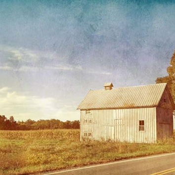 Old Gray Barn in the Country with Blue Sky - Fine Art Photo